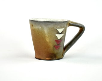 Latte Mug with Red and Yellow Triangles