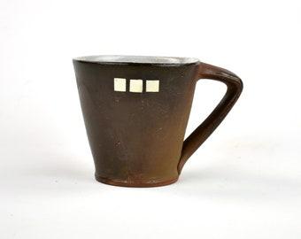 Charcoal Black Latte Mug with Yellow Squares