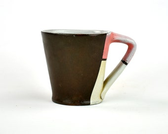 Charcoal Black Latte Mug with Pink and Beige Blocking