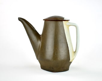 Charcoal Black Teapot with Beige Handle