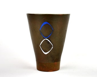 Charcoal Black Cup with Blue Circles