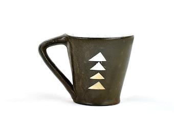 Blue Latte Mug with Beige Triangles