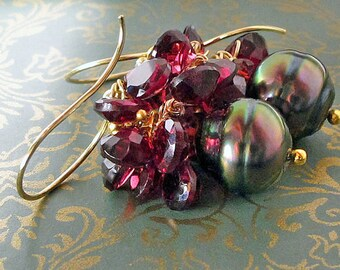 Tahitian Black Pearl Earrings, South Sea Pearl Earrings