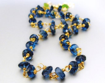 14k Solid Gold London Blue Topaz Necklace, 14k Gold London Blue Topaz Necklace, 14k Blue Topaz Necklace
