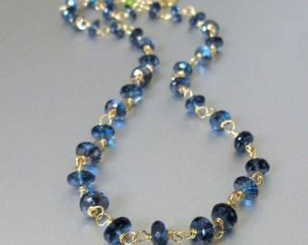 18k Solid Gold London Blue Topaz Necklace, London Blue Topaz Necklace, 18k Gold London Blue Topaz Necklace