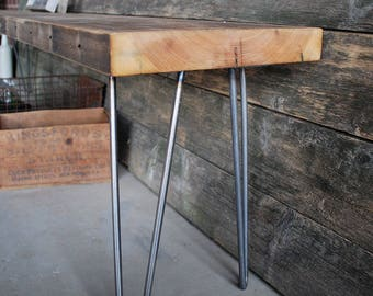 Industrial Console Table with reclaimed wood top and mid century styled hairpin legs.  Custom inquiries welcome.