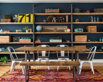 Farmhouse Shelving Unit, Custom Shelving made of reclaimed wood and square tube steel.  Choose size and wood finish.