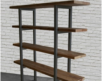Urban Plank Wood Shelving/Storage/Bookcase with steel supports.  Choice of size and finish.  Custom orders turnaround 4-6 weeks.