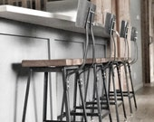 Reclaimed Wood Chair Counter Bar height stool. Offered in 3 heights 18 quot table, 25 quot counter, 30 quot bar. You choose size and finish.