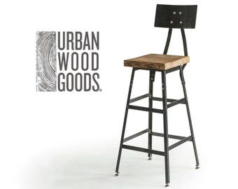 """Bar Height Harvest Barn Wood Stool with steel back (1) 25"""" counter height stool with back.  Your choice of wood finish and stool height."""