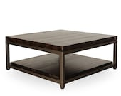 Square Coffee Table or Rectangle Coffee Table with storage, reclaimed wood top and shelf. Choose size, thickness, and finish.