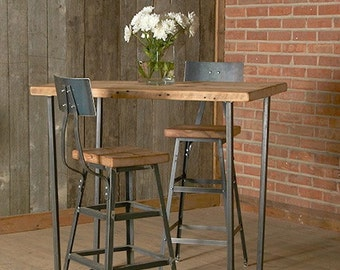 "Bar Height Harvest Barn Wood Stool with steel back (1) 25"" counter height stool with back.  Your choice of wood finish and stool height."