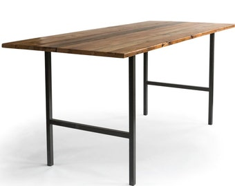 Counter Height Urban Wood Restaurant Table/Standing Height Pub Table, steel H legs, your choice of color, table top thickness, size & finish