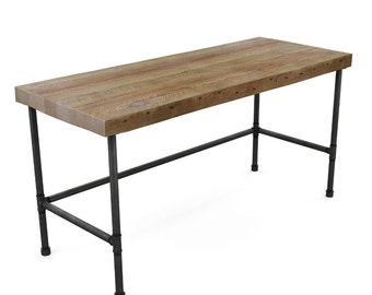 "Harvest Wood Office Desk with 2"" thick top and steel pipe leg base, natural wood finish pictured here. Choice of size and finish."