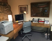 Modern Rustic Reclaimed Wood L Desk crafted of reclaimed wood and steel pipe legs. Choose of size, height, finish. Custom inquiries welcome.