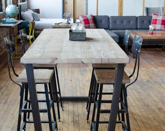Merveilleux Standing Height Bistro Table , Restaurant Table , Pub Table With Steel Legs  In Your Choice Of Color, Size And Finish