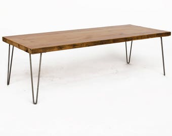 Hairpin coffee table etsy mid century vintage coffee table made with hairpin legs pricing starting at 36 x 20 15 thick top custom designs and sizes welcome watchthetrailerfo