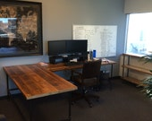 Office Desk in L shape made with with pipe legs or square steel legs in choice of size and finish