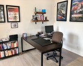 Farmhouse Office Desk in L shape made with reclaimed wood and square steel legs in choice of size and finish and thickness