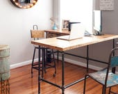 Industrial Reclaimed L shaped Desk with reclaimed wood top and iron pipe legs in choice of size, height, wood thickness and finish