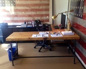 L Shape desk crafted of reclaimed wood with pipe legs or square steel legs