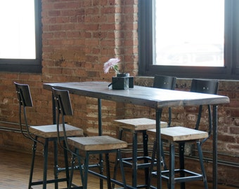 Charmant Industrial Bar Height Or Counter Height Table Made With Reclaimed Wood U0026  Iron Pipe Legs. Custom Orders Welcome. Choose Size, Height, Finish