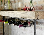 "Industrial Reclaimed Wood Console Table/Wine bar with pipe legs, thick 2.5"" top."