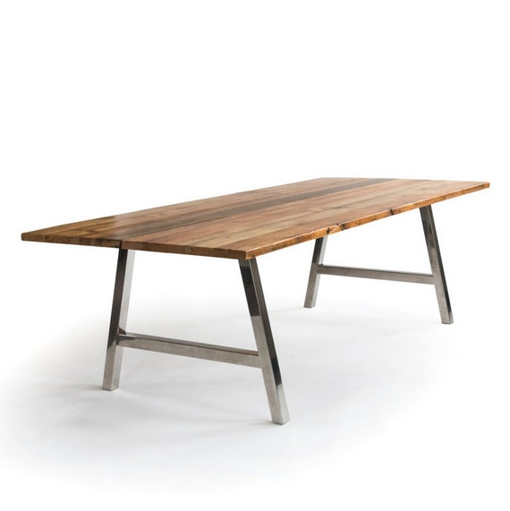 Office Table, Modern Dining Table, Reclaimed Wood Table with your choice of  wood finish and brushed stainless steel base