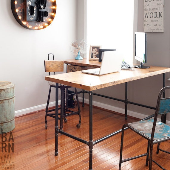 Reclaimed Wood Desk In L Shape With Iron Pipe Legs In