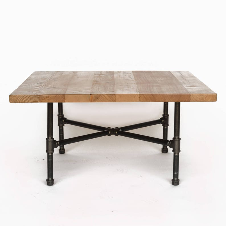 Wood Coffee Table With Steel Pipe Legs Made Of Reclaimed Wood Etsy