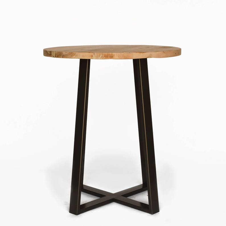 Round Recycled Wood Pub Table, Standing Table Made With Reclaimed Wood And  Steel Legs In Your Choice Of Height, Base Color, Size And Finish