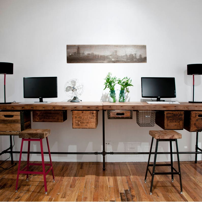 custom reclaimed office furniture urban wood l desk and work etsy rh etsy com reclaimed office furniture manchester reclaimed office furniture near me