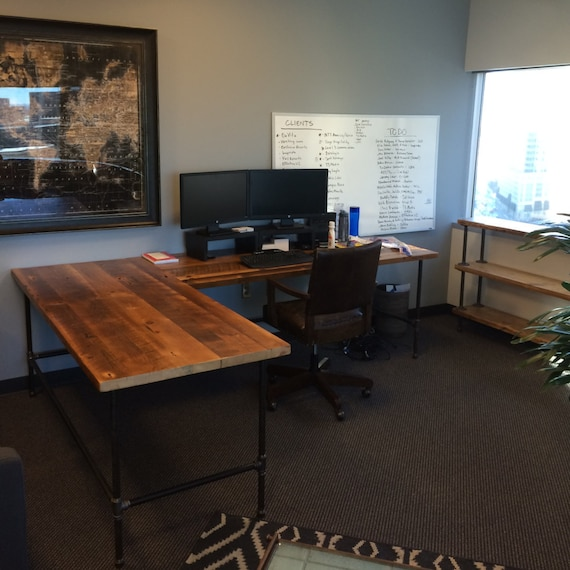 Custom Desk L Shaped Made Of Reclaimed Wood And Iron Pipe