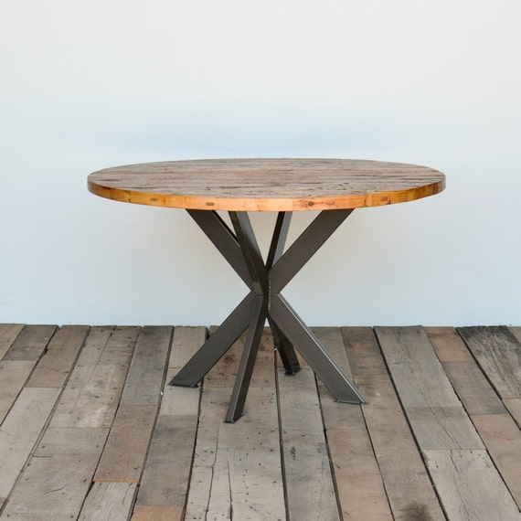 Round Dining Table In Reclaimed Wood, Round Reclaimed Dining Table