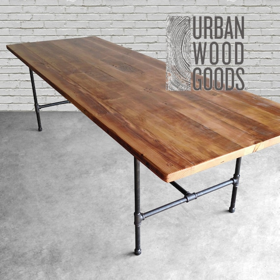 Wood Dining Table with reclaimed wood top and iron pipe legs in choice of  sizes, base style or finishes