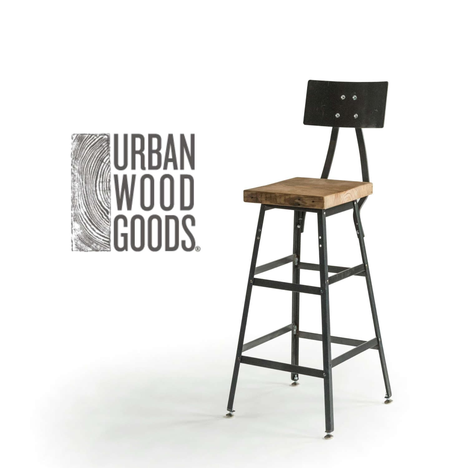 Bar Height Harvest Barn Wood Stool With Steel Back 1 Etsy