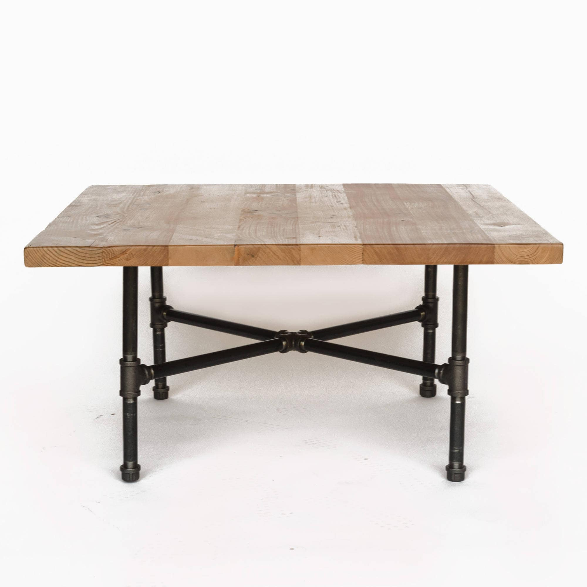Square Coffee Table Made Of Reclaimed Wood And Iron Pipe