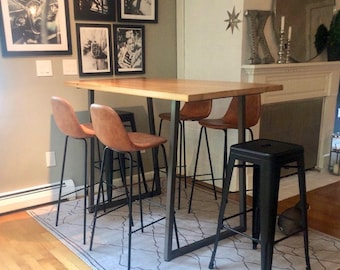 Solid Wood Bar Height or Counter Height Table, Pub Table with reclaimed wood and flared U steel legs. Choose color, size, thickness, finish