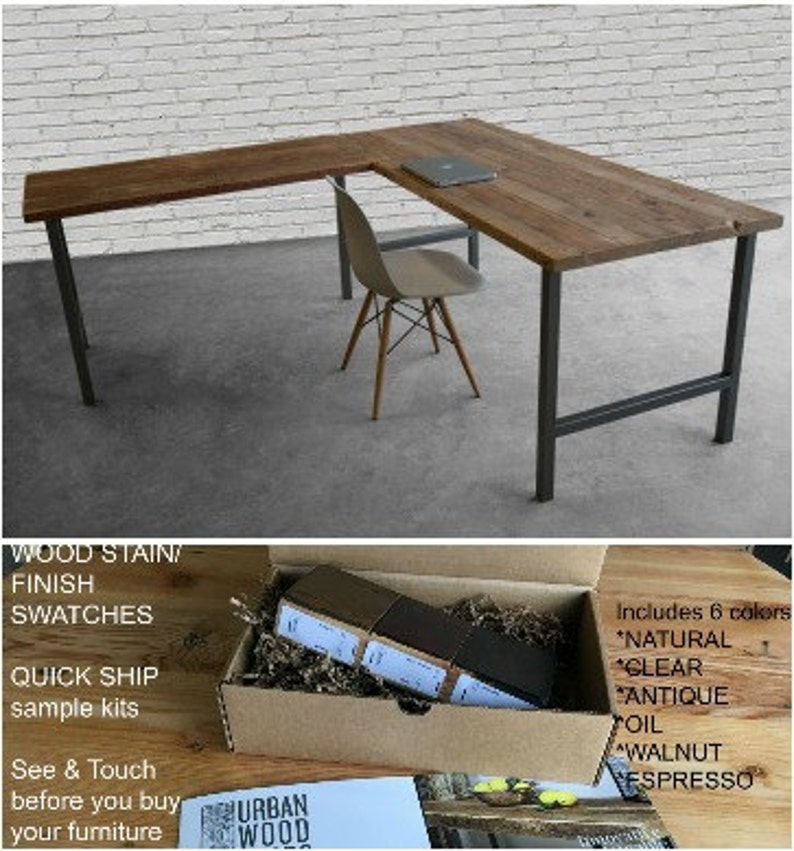 Surprising Barn Wood L Shaped Desk Wood Desk Office Furniture With H Style Steel Base Choose Size Wood Thickness And Finish Home Interior And Landscaping Ologienasavecom