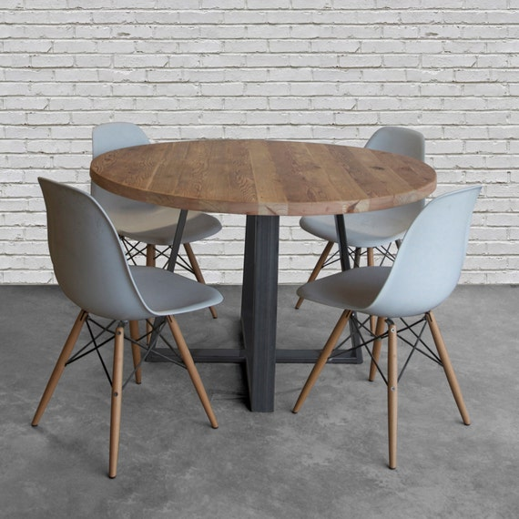 Stupendous Round Criss Cross Dining Table In Reclaimed Wood And Steel Legs In Your Choice Of Color Size And Finish Theyellowbook Wood Chair Design Ideas Theyellowbookinfo