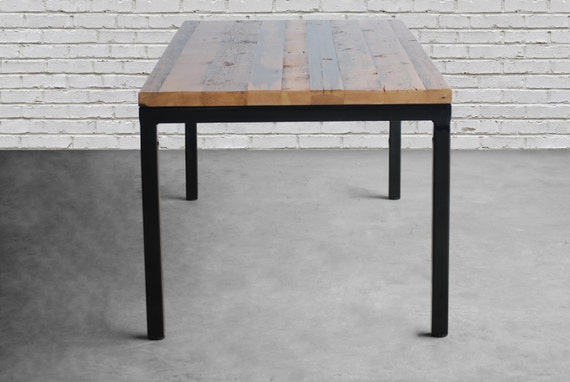 Modern Rustic Dining Table with reclaimed wood top and steel Parsons style  legs in your choice of color, size and finish