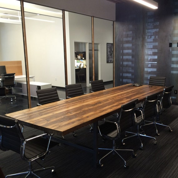 Wood Conference Table In Thick Reclaimed Wood And Steel Legs Etsy - Wood and metal conference table