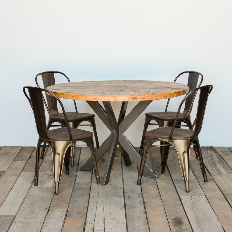 Groovy Rustic Wood Kitchen Table Loft Table In Reclaimed Wood And Steel Legs Clear Finish Pictures Your Choice Of Color Size Finish Interior Design Ideas Gentotryabchikinfo