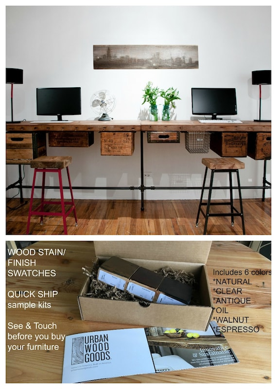 Reclaimed Wood Desk, Custom Desk, Office Furniture. Choose size, thickness,  finish, accesories (crate drawers, locker basket, keyboard tray)