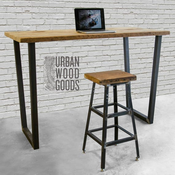 Phenomenal Industrial Rustic Standing Desk High Top Office Desk With Reclaimed Wood Top Choose Size Wood Thickness And Finish Theyellowbook Wood Chair Design Ideas Theyellowbookinfo