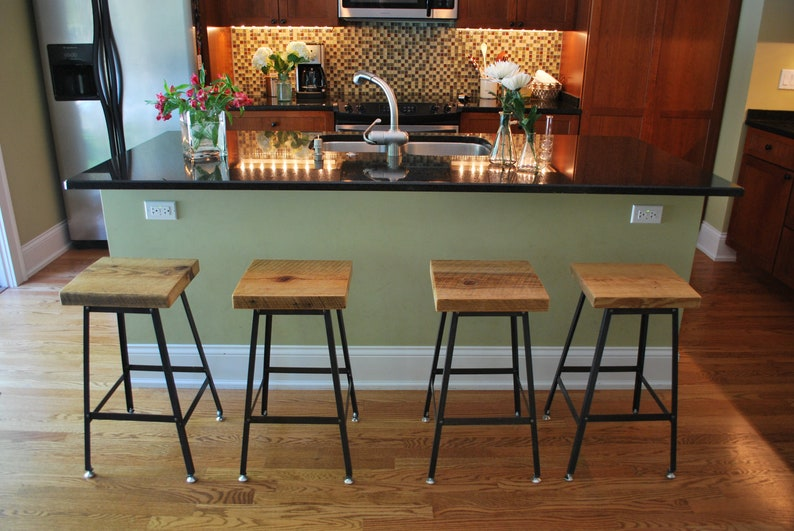 Qty 1 Made in Chicago Reclaimed Wood and Steel Industrial Shop Stool choose finish 18 table height
