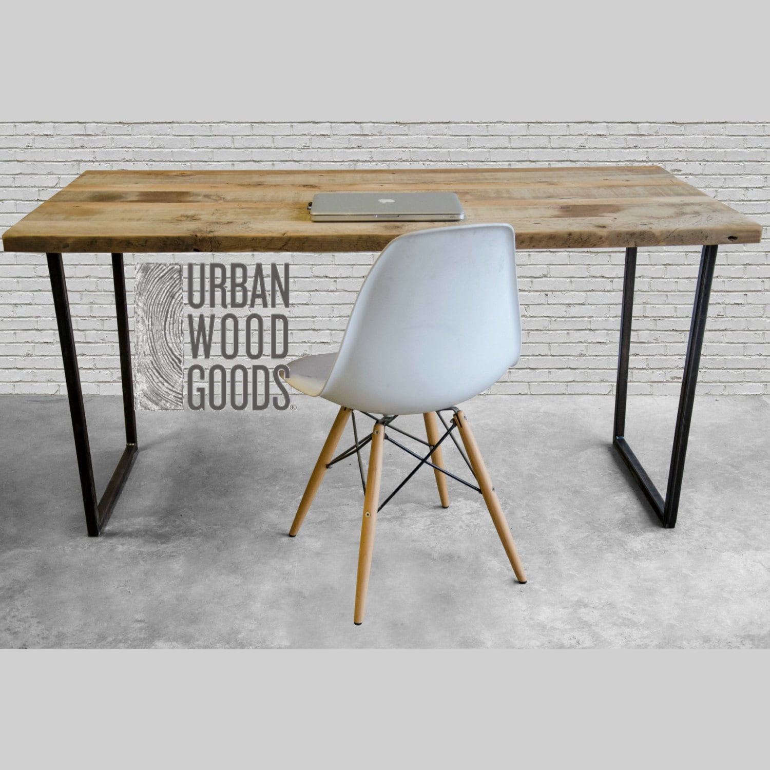 Incroyable Modern Urban Wood Desk, Reclaimed Wood Office Desk With Vintage Wood Top.  Choose Size, Wood Thickness And Finish.