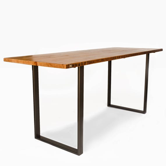 Office Kitchen Bar Table Impressive Bar Height Dining Table With Modern U Steel Base And Reclaimed Wood Top Custom Designs Welcome Choose Height Size Thickness Finish 242 3
