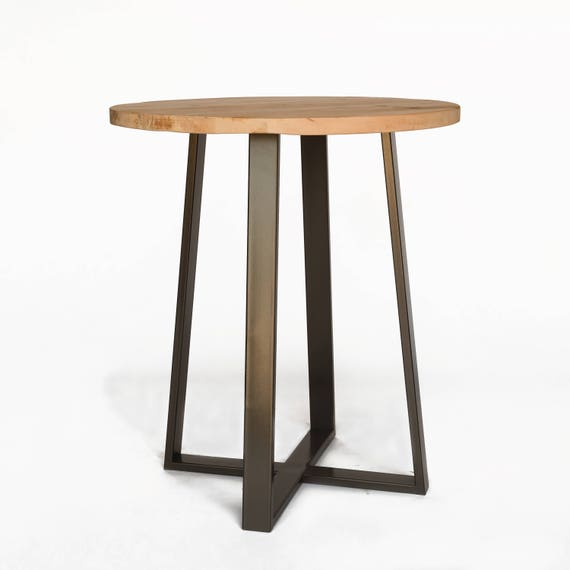 Round Bistro Table High Top Pub Table Made Of Reclaimed Wood Etsy