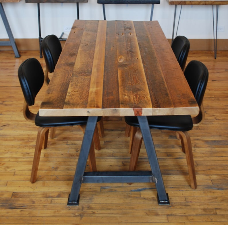 Farmhouse Barnwood Dining Table With Reclaimed Wood Top And Etsy